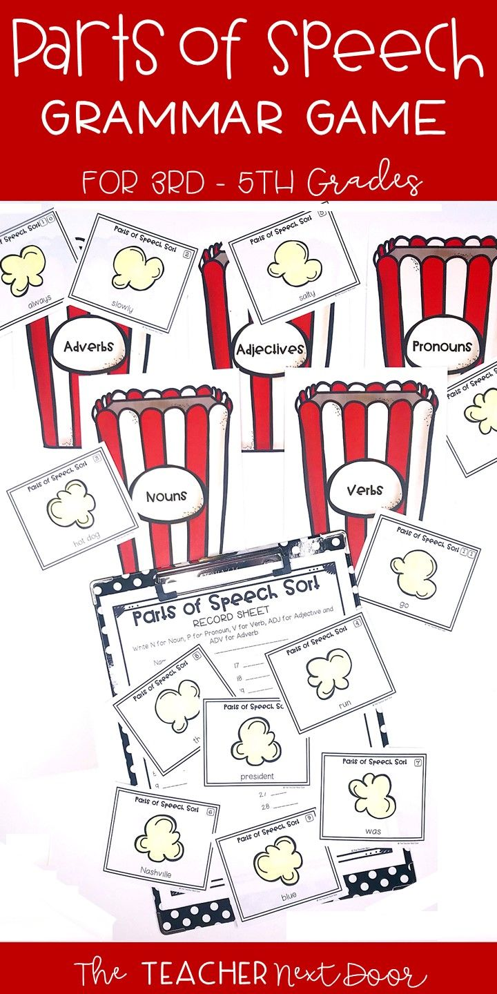 This Parts Of Speech Game Will Give Your Students An Engaging Way To Practice Identifying Five Parts Of Speech Games Parts Of Speech Parts Of Speech Activities