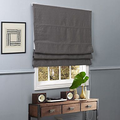 Contemporary Grey Solid Polyester Blackout Roman Shade – USD $ 39.99