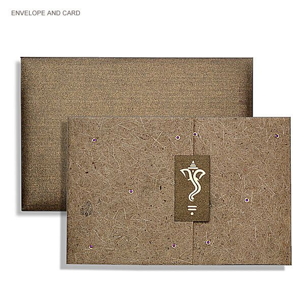 Three Leaf Simple Ganesh Design Indian Wedding Invitation CardsHindu