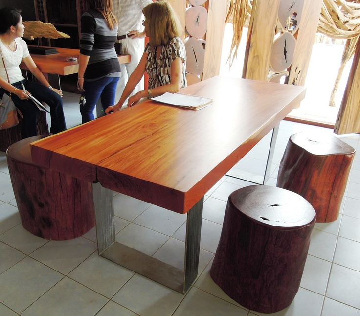 Modern Monkey Wood Dining Table With Raw Steel Base.
