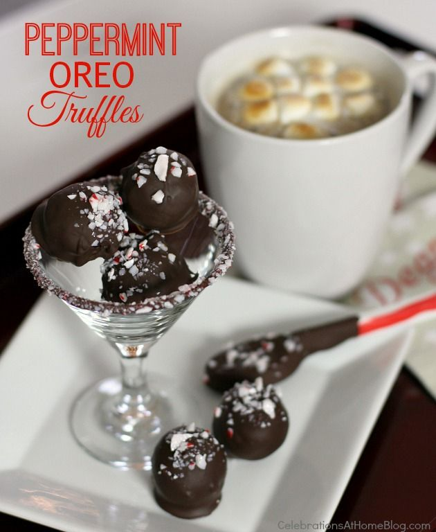 peppermint oreo truffles recipe + hot cocoa with toasted marshmallows: Truffles Recipe Yum, Oreo Truffles Recipe Christmas, Oreo Truffles Recipes, Fun Ideas, Peppermint Oreo