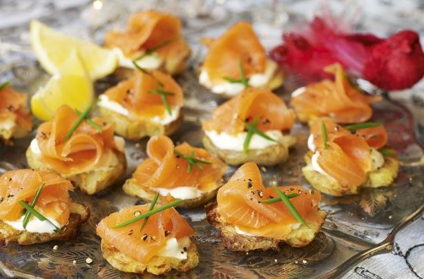 Crushed potatoes with smoked salmon toppers