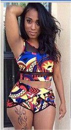 Women High Waist Bikini Set Print Floral Swimsuit Push Up Swimwear High Waist Bathing Suit African Print Two Piece