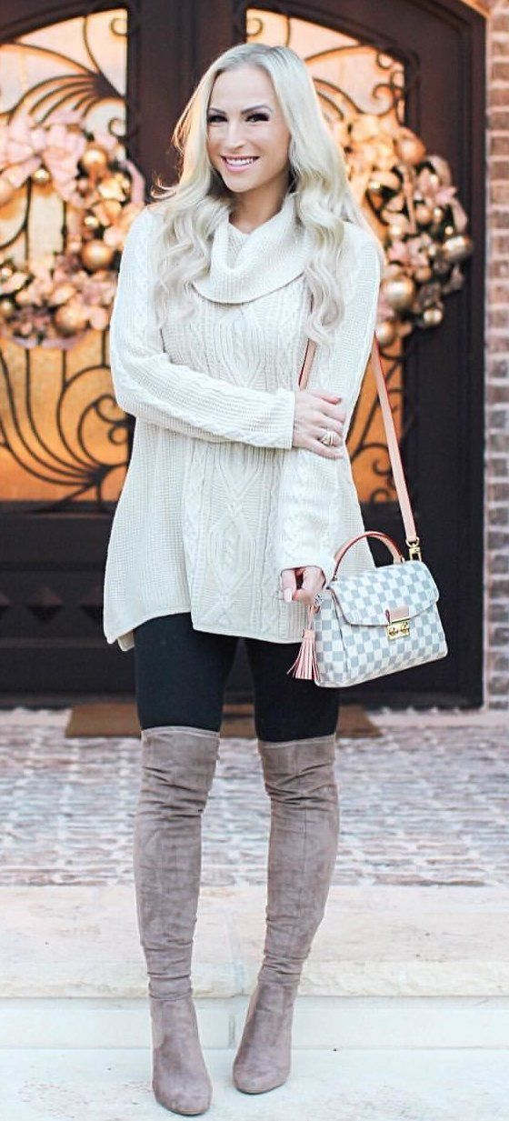 #winter #outfits white knitted cowl-neckline sweater
