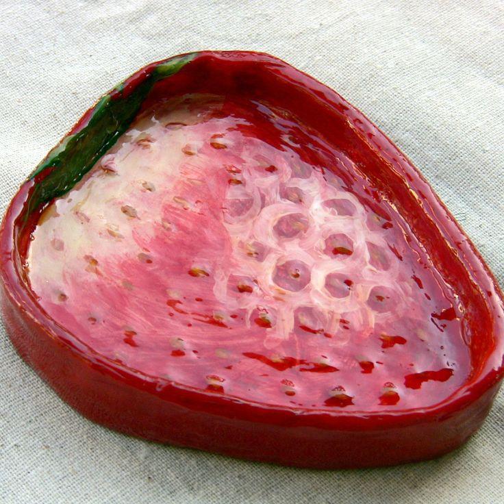 Paper mache strawberry dish