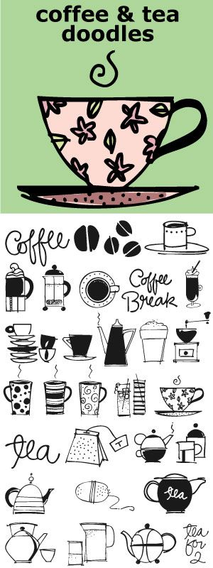 Coffee and Tea Doodles is a font of coffee and tea things-- perfect set of illustrations for coffee or tea shop menus, ads, invitations, etc. http://www.outside-the-line.com/shop/coffee-tea-doodles/