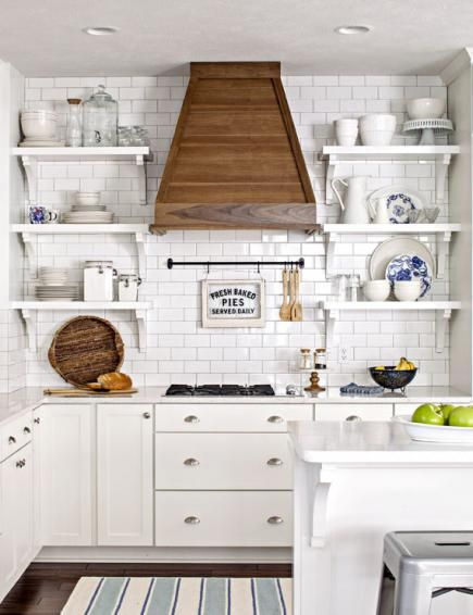 Open shelving reflects the informal style of this Michigan cottage. Read more about the kitchen: http://www.midwestliving.com/homes/featured-homes/house-tour-lake-house-effect?page=3