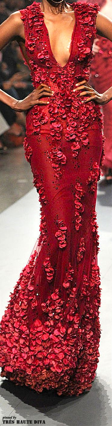 Armato by Furne One ~ Fall Sleeveless Red Gown w Crystal+Floral Embellishments…