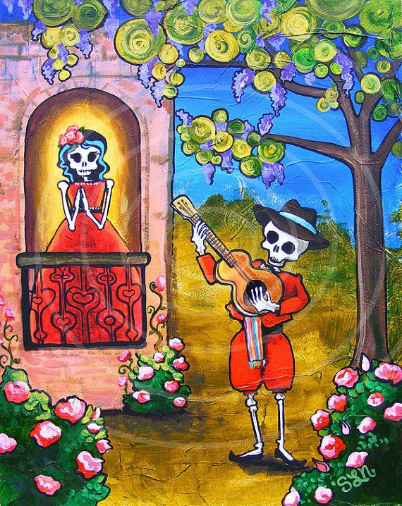 Mariachi Art Print Romeo Juliet Serenade Poster. Valentine Gift Day of the Dead Mexican Folk Art. Romantic Gothic Balcony Scene painting art