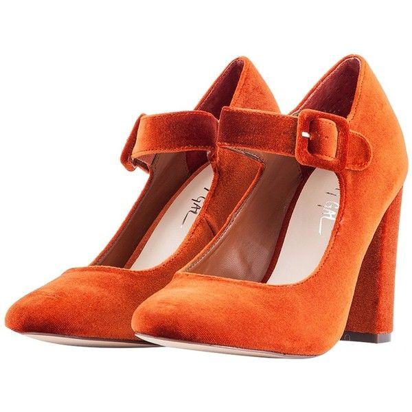 Nasty Gal Orange Velvet Varda Mary-Jane ($100) ❤ liked on Polyvore featuring shoes, orange, chunky high heel shoes, velvet mary janes, velvet shoes, high heel mary janes and mary jane shoes
