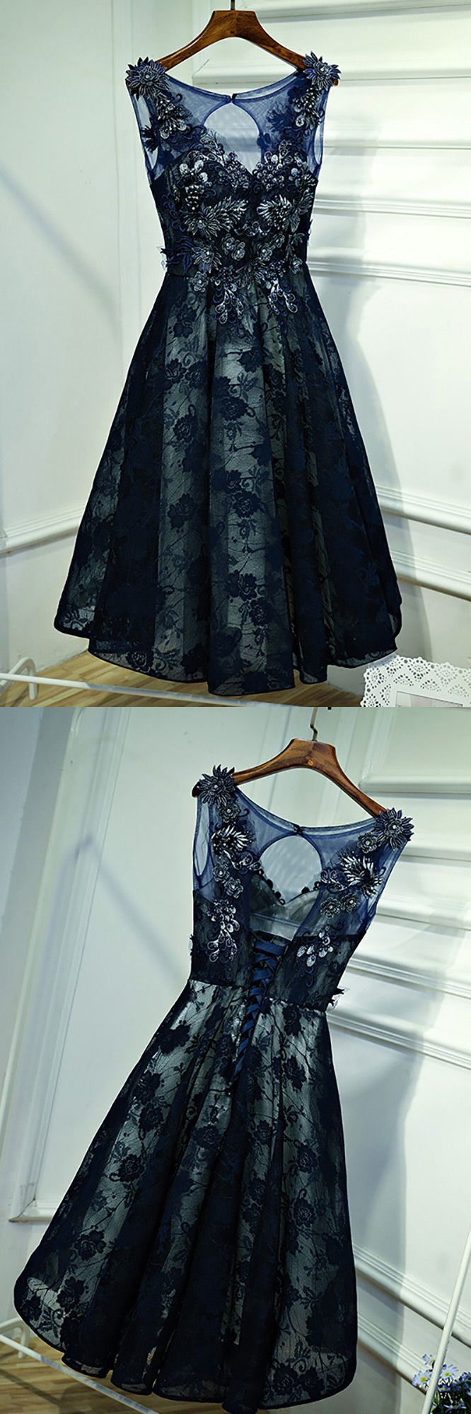 Only $118, Gorgeous Navy Blue Lace Short Formal Party Dress With Appliques #MYX18143 at #SheProm. SheProm is an online store with thousands of dresses, range from Prom,Homecoming,Party,Blue,Navy,A Line Dresses,Lace Dresses and so on. Not only selling formal dresses, more and more trendy dress styles will be updated daily to our store. With low price and high quality guaranteed, you will definitely like shopping from us.