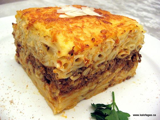 A delicious recipe for Pastitsio, the Greek version of lasagna. Recipe contributed by Peter Minaki from kalofagas.ca