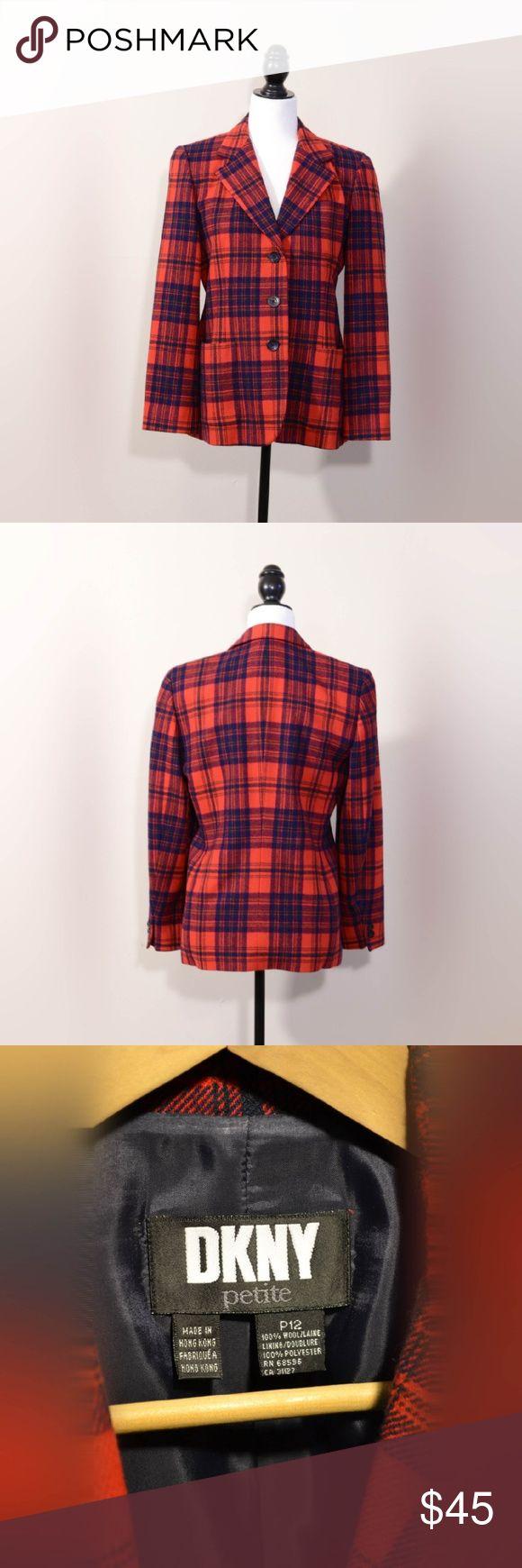 DKNY Tartan Blazer Stylish blazer by DKNY. 100% wool. DKNY Jackets & Coats Blazers