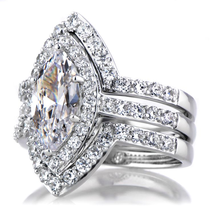Padgett S Marquise Cut Cz Wedding Ring Set Double Guards