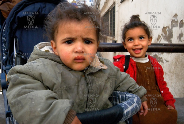 Ferielle and Fadia, sisters, live in the street as their parents haven't got the money to rent a house.
