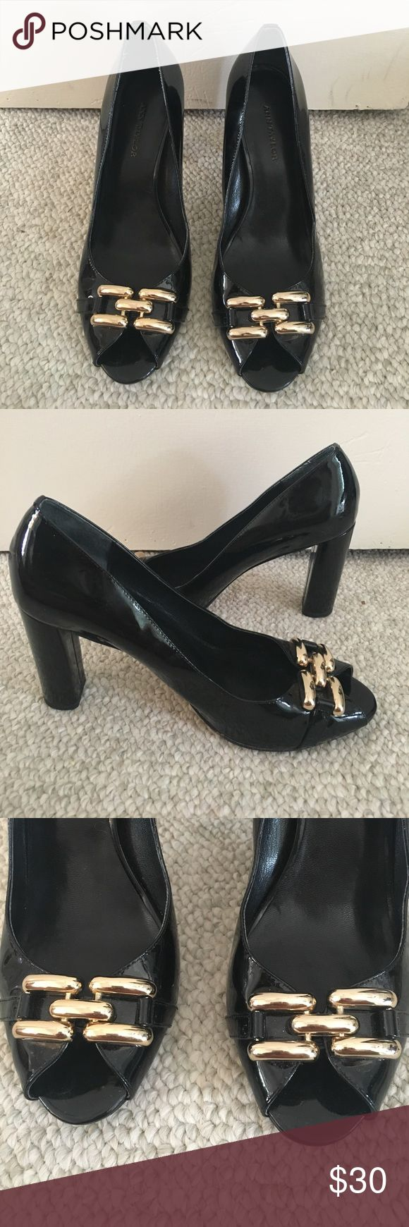 Ann Taylor Black Peep Toe Heels Ann Taylor black patent leather peep toe heels with gold details. Has a 3.5 semi block heel. In great condition. Runs true to size. Ann Taylor Shoes Heels