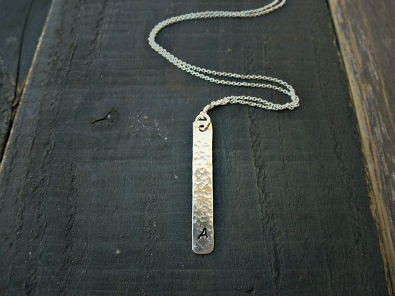 Sterling Silver Bar Necklace Hammered Slice  All by SoCoolCharms, €28.76