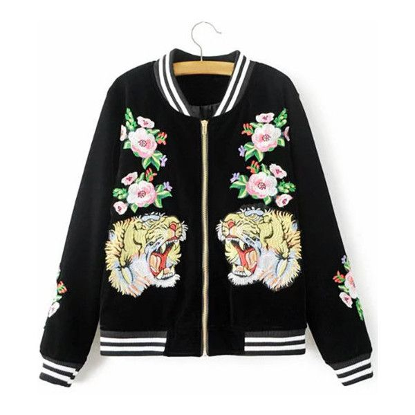 Yoins Fashion Black Embroidery Pattern Bomber Jacket ($57) ❤ liked on Polyvore featuring outerwear, jackets, black, patterned bomber jacket, bomber jacket, flight jacket, embroidered bomber jacket and blouson jacket