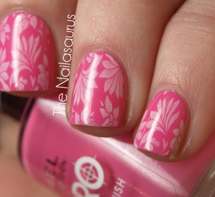 pink with white flower prints