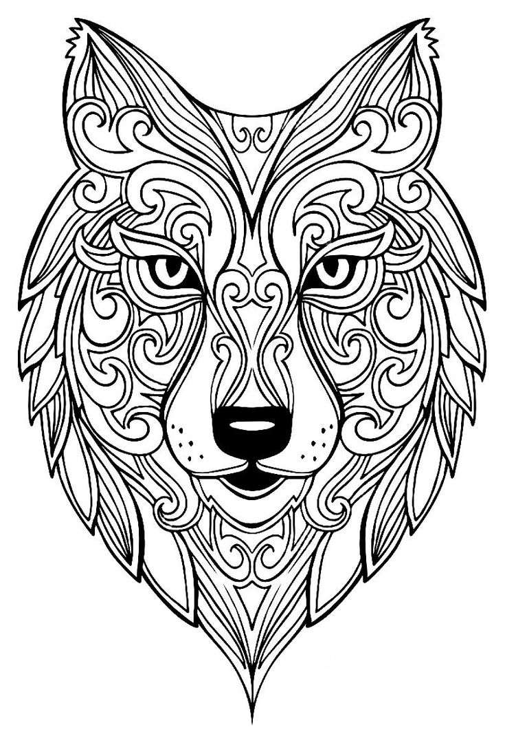 Zen Wolf Coloring Page For Adults 1 | Animal coloring ...