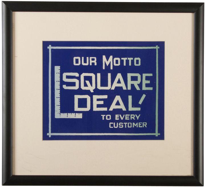Rejuvenation Framed NOS Square Deal Sign