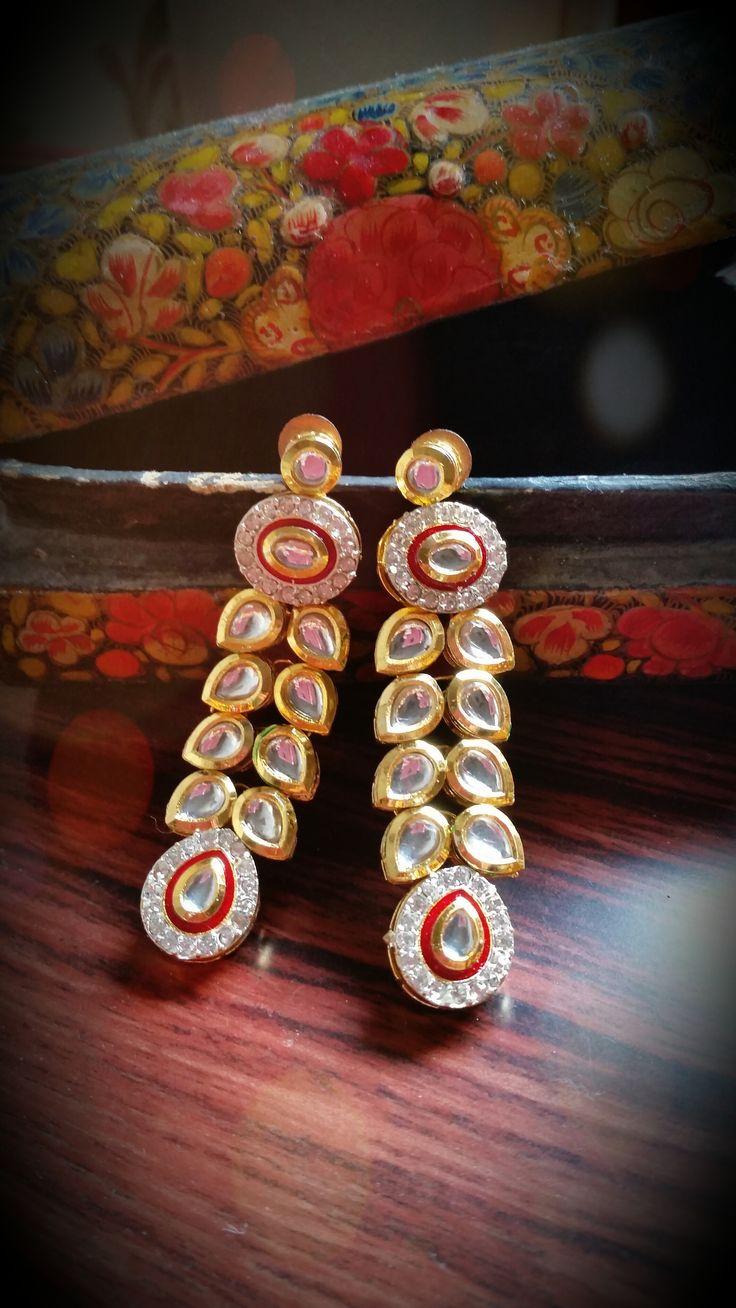 Kundan Earrings Indian Bollywood Fashion Jewelry Indian Ethnic Earrings #kundan #earrings #kundanearrings #bollywoodearrings Find more on htyp://www.ebay.com/usr/diyacollections