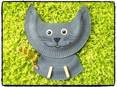 chat en assiette en carton, animal domestique, bricolage enfant
