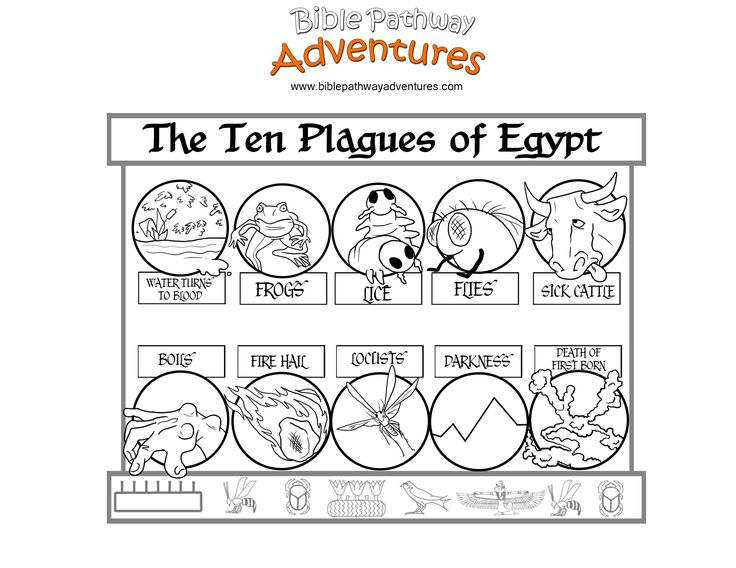 A coloring page from the story, Escape from Egypt. Did you know that the plagues were a direct attack on the Egyptians' gods?