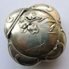 Antique French Art Nouveau Sterling Silver Pill Box - Dragonfly - Circa 1900