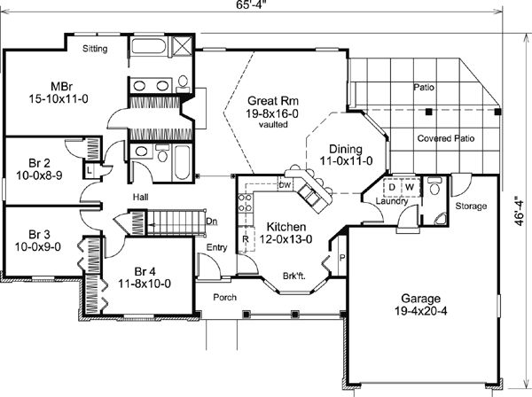 Bungalow Country Ranch Traditional House Plan 87889 Level One