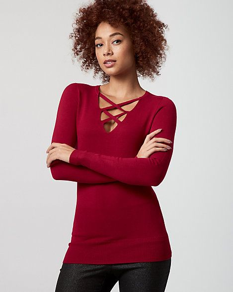 Viscose Blend Lace-Up Neck Sweater - This viscose blend sweater fashioned with a criss-cross V-neck is laced with style.