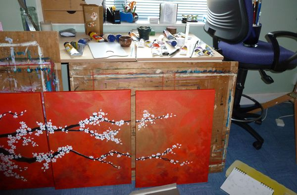Working on Cherry Blossoms Triptych in my Studio - spot the essential box of chocolates