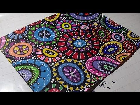 Wonky Circles Doodles | Adding Detail with White Gel Pen and Acrylic Pai...