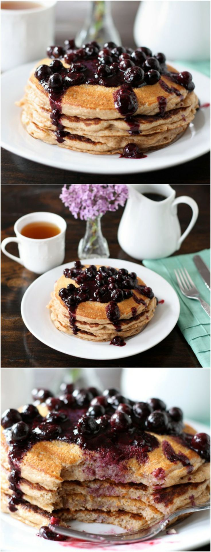 Whole Wheat Kefir Pancakes with Blueberry Sauce Recipe on twopeasandtheirpod.com. Fluffy whole wheat kefir pancakes with a simple blueberry sauce! #pancakes #mothersday
