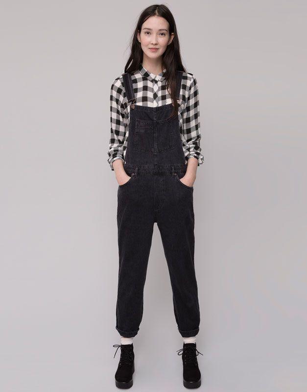 Pull&Bear - damen - latzhosen und overalls - lange latzjeans - schwarz - 09635313-I2015
