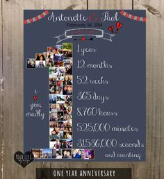 First Anniversary Gift, VALENTINES DAY Photo Collage, Anniversary Gift for Husband, Anniversary Gift for Wife, One Year Wedding by YourLifeMyDesign on Etsy