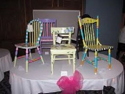 "FundraiserHelp.com: ""Chair-ity"" Auction Fundraiser - Another fun way to raise money is by auctioning off some decorated chairs. You can also bundle the chairs with other items to make an attractive bundle similar to a gift basket. More auction fundraiser ideas: www.FundraiserHelp.com/auction/"
