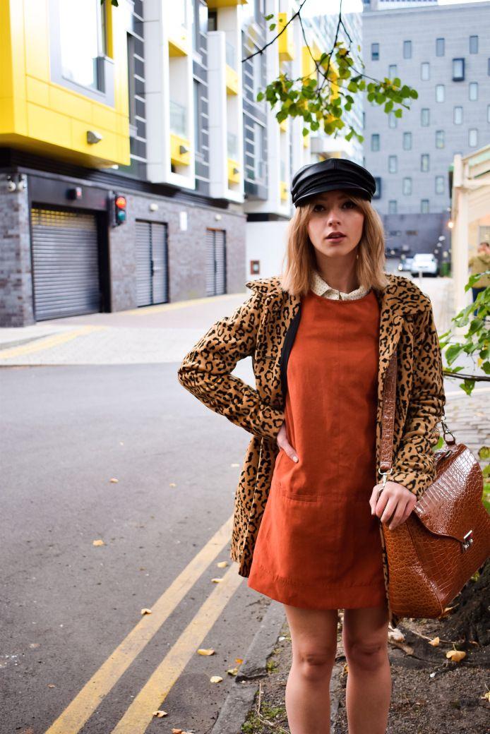 Starr Clare | Autumn Colour Palettes | Baker Boy Hat - Vintage | Polka dot Shirt - Vintage | Seventies suede Pinafore - Primark | Bag - Depop | Boots - CAT Footwear