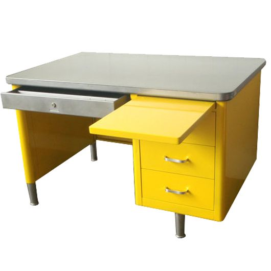 Steelcase Single Pedestal Tanker Desk Vintage Steel Metal