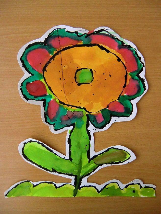 CIZOKRAJNÁ ROSTLINA- vytvořit cizokrajnou květinu s důrazem na barevnou a tvarovou kompozici, rozvíjet fantazii (malba akvarelem dokreslovaná tuší)