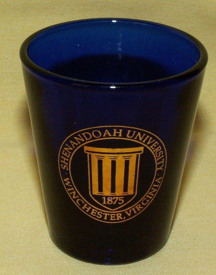 SHENANDOAH UNIVERSITY SHOT GLASS WINCHESTER VIRGINIA COBALT BLUE GOLD LIBBEY.