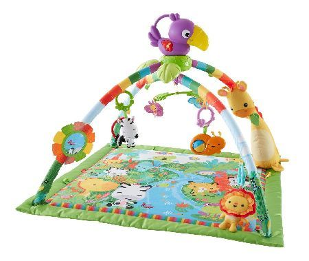FISHER Price - Rainforest Music and Lights Deluxe newborn gym with 10  toys and activities and a removable take-along toucan with music and dancing lights.... (Barcode EAN=0887961178197) http://www.MightGet.com/january-2017-12/fisher-price--rainforest-music-and-lights.asp
