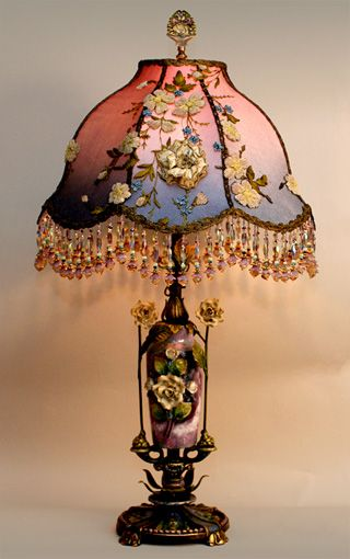 1920's lusterware porcelain lamp base with art Nouveau style shade
