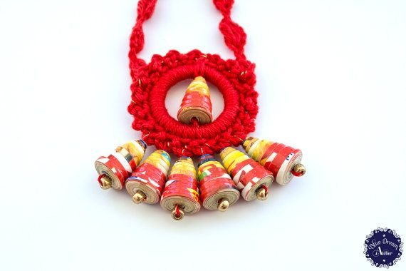 Red Aztec Summer Sun Crochet Medallion Necklace with Paper Beads (PBC 16)