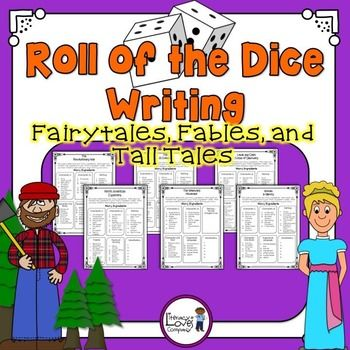 Roll of the Dice Writing {Fairytales, Fables, and Tall Tales} Great resource for literacy stations, emergency sub plans, fun class writing projects! $