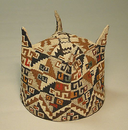 Four-Cornered Hat Date: 7th–9th century Geography: Bolivia (?) Culture: Tiwanaku Medium: Camelid hair Dimensions: Height 5 in.