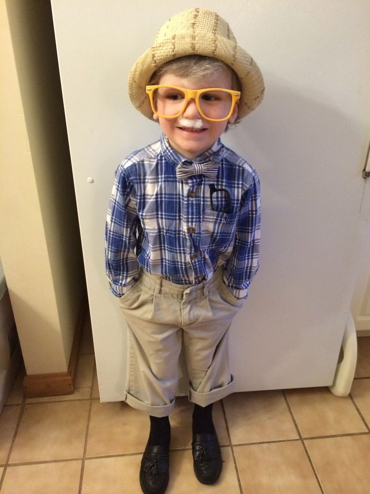 Dressing my son like a 100 year old man for 100 day of school. Used glasses that were too big without lenses and put baby powder and hairspray in hair for grey/white effect. High water pants and added cheesy leather tassels to dress shoes. Penny loafers would be a good idea too.
