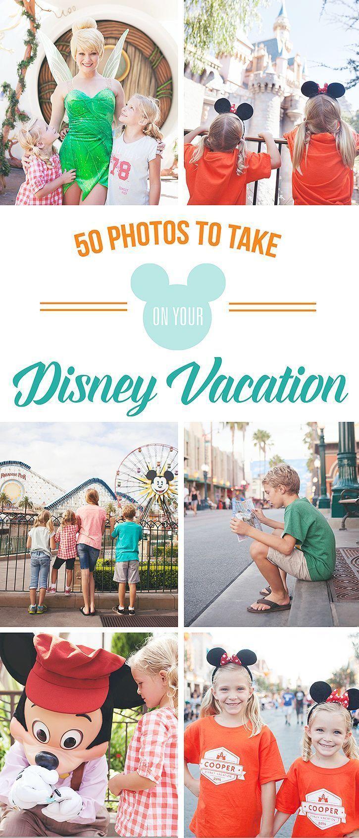 50 Photo suggestions to capture the magic of YOUR Disney Vacation - Free Printable Photo Checklist disneyland #disney #disneyland