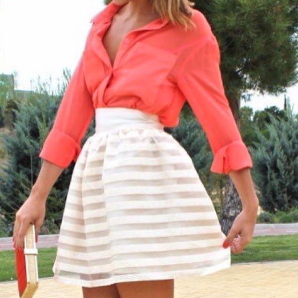 stripes :): Full Skirts, High Waist Skirts, Coral Blouses, Coral Shirts, Skirts Outfits, Stripes Skirts, Summer Outfits, Summer Colors, White Skirts