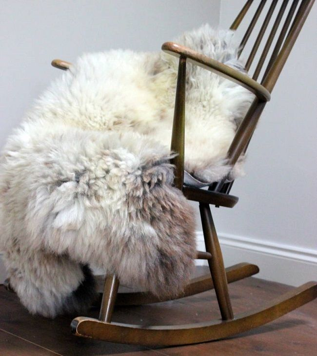 rustic living room ideas, sheepskin rug, the forest and co